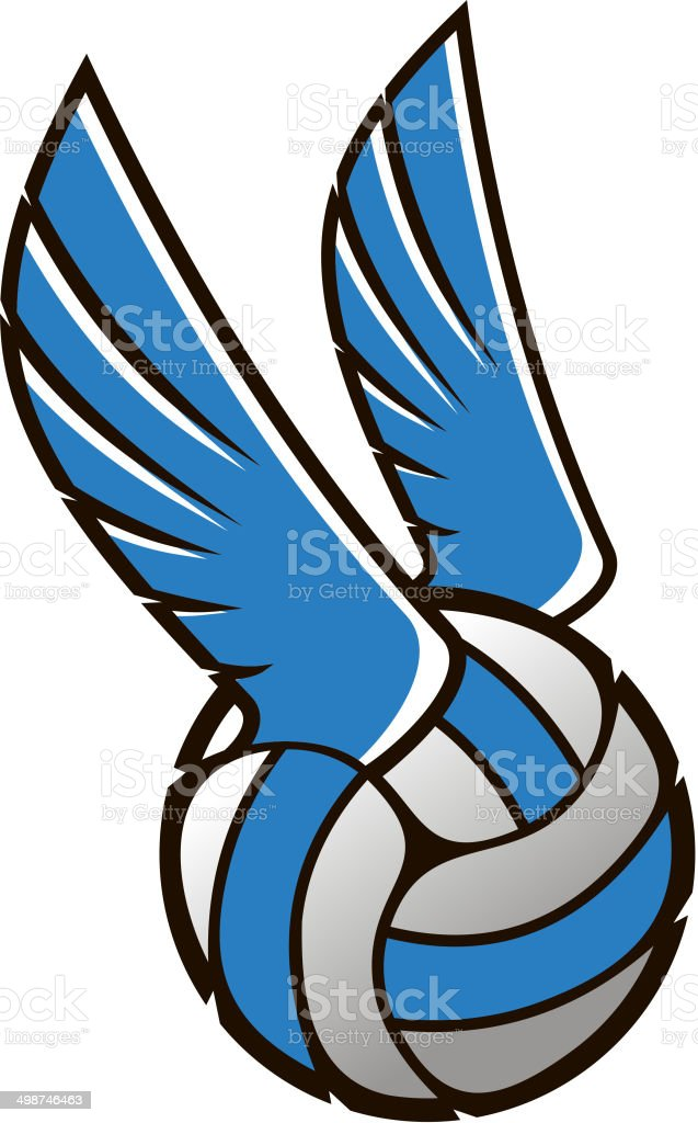 Volleyball ball with wings royalty-free stock vector art