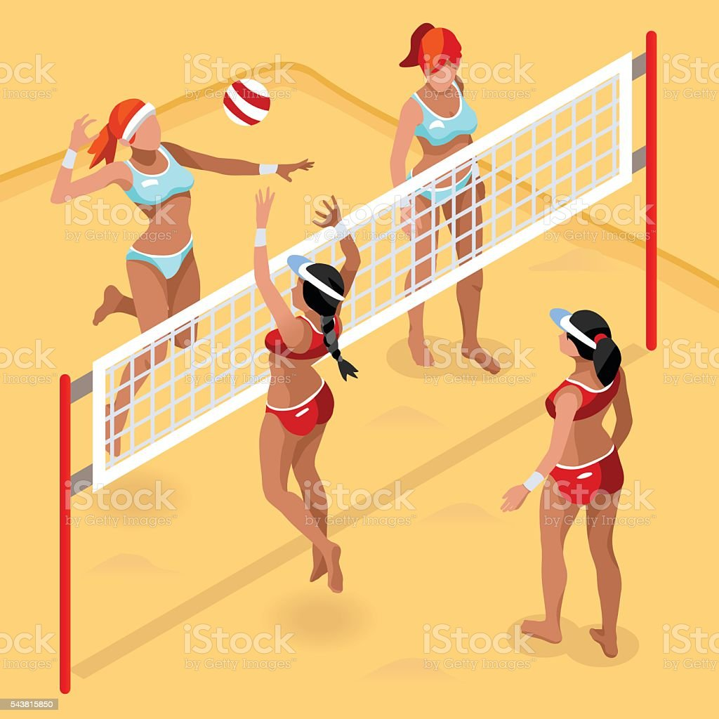 Beach Volley Player Sports Icon Set.3D Isometric Beach...