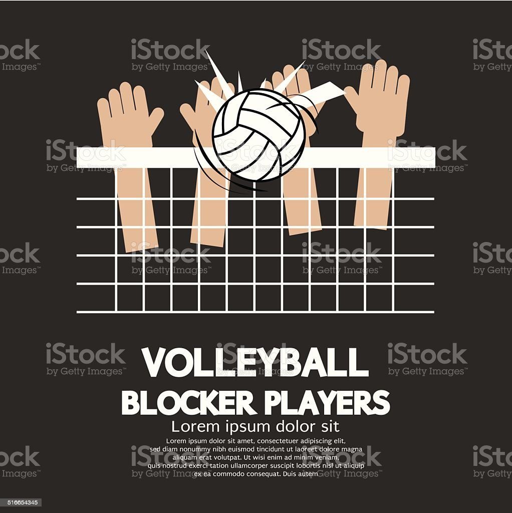 Volleyball Block Players Sports Graphic Vector Illustration vector art illustration