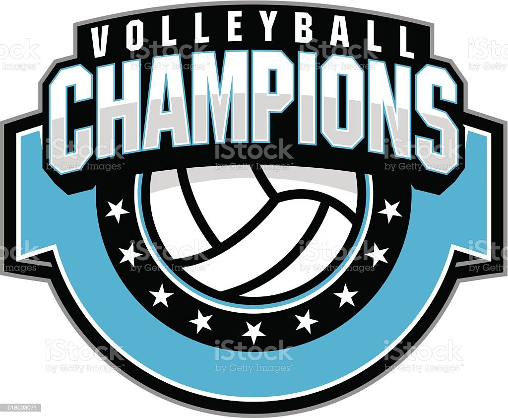 Volleyball champion vector art illustration