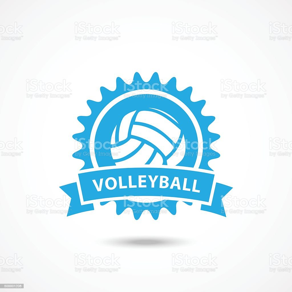 Volleyball championship logo with ball vector art illustration