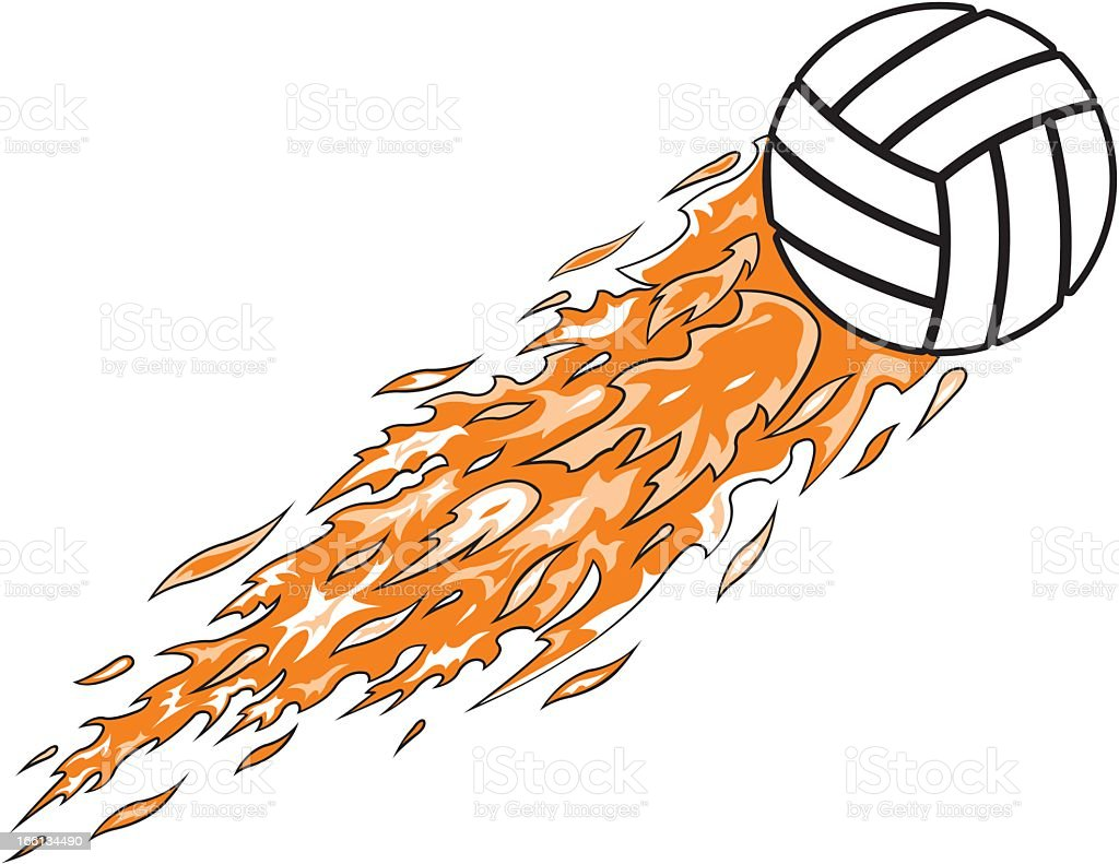 Volleyball Flames royalty-free stock vector art