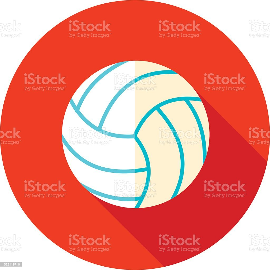 Volleyball flat icon with long shadow vector art illustration
