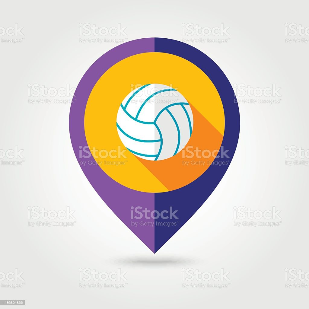 Volleyball flat mapping pin icon with long shadow vector art illustration