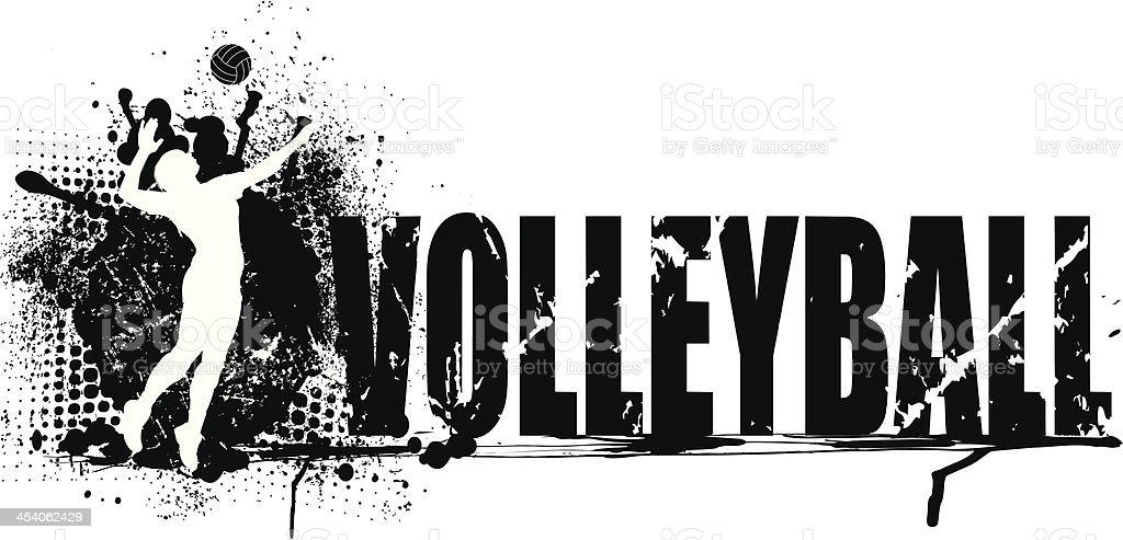 Volleyball Grunge Graphic Background - Girls vector art illustration