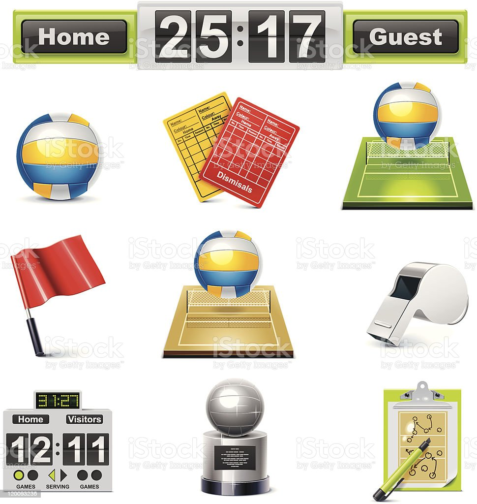 Volleyball icon set royalty-free stock vector art
