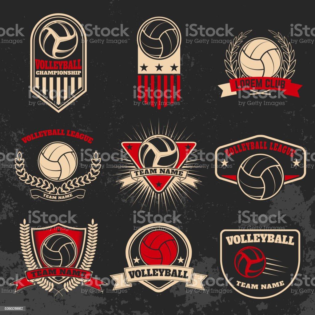 Volleyball labels. Design elements for  labe, emblem, sign, vector art illustration