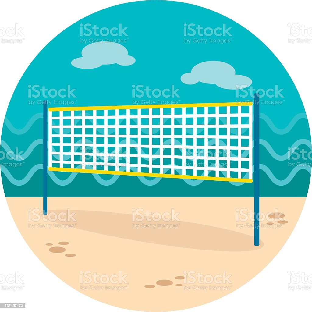 Volleyball net beach sport icon. Summer. Vacation vector art illustration