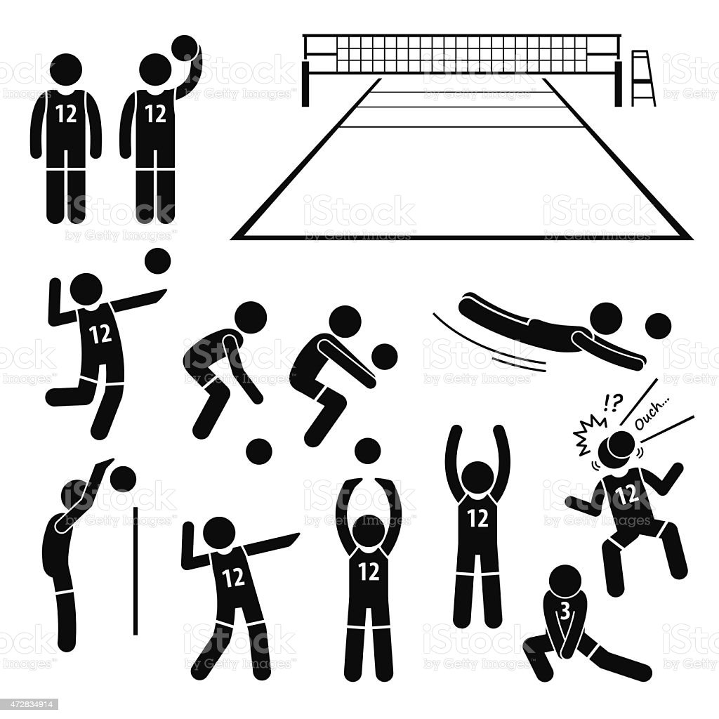 Volleyball Player Actions Poses Postures Stick Figure Pictogram Icons vector art illustration