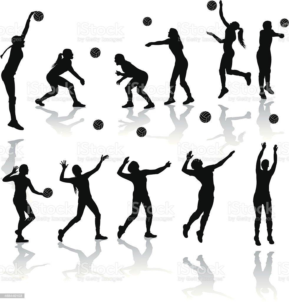 Volleyball Players - Girls vector art illustration