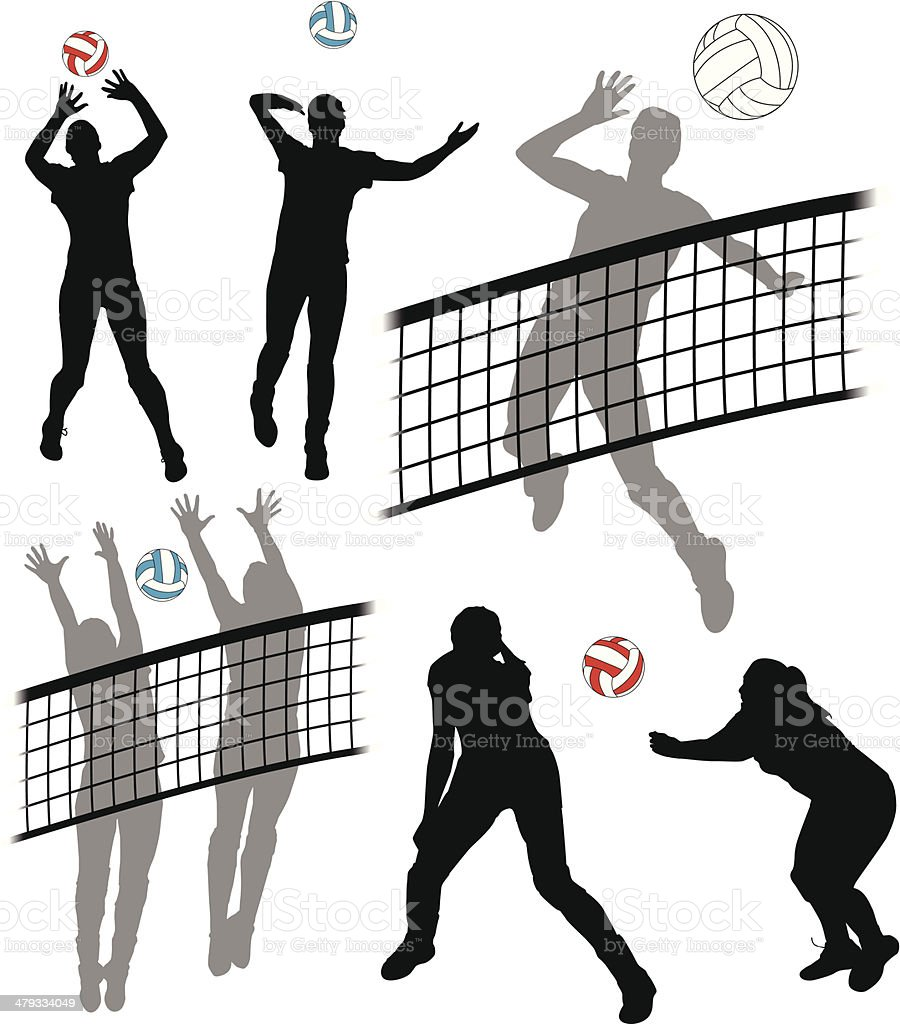 Volleyball Players vector art illustration