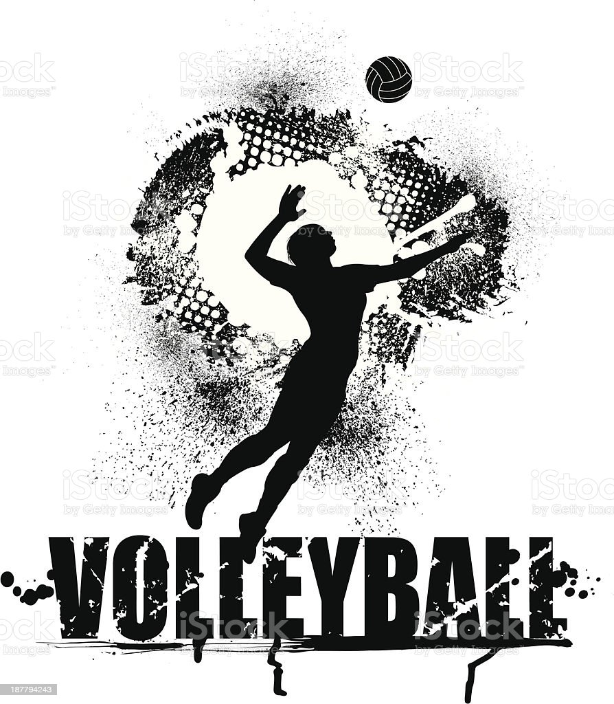 Volleyball Serve Grunge Graphic - Female royalty-free stock vector art