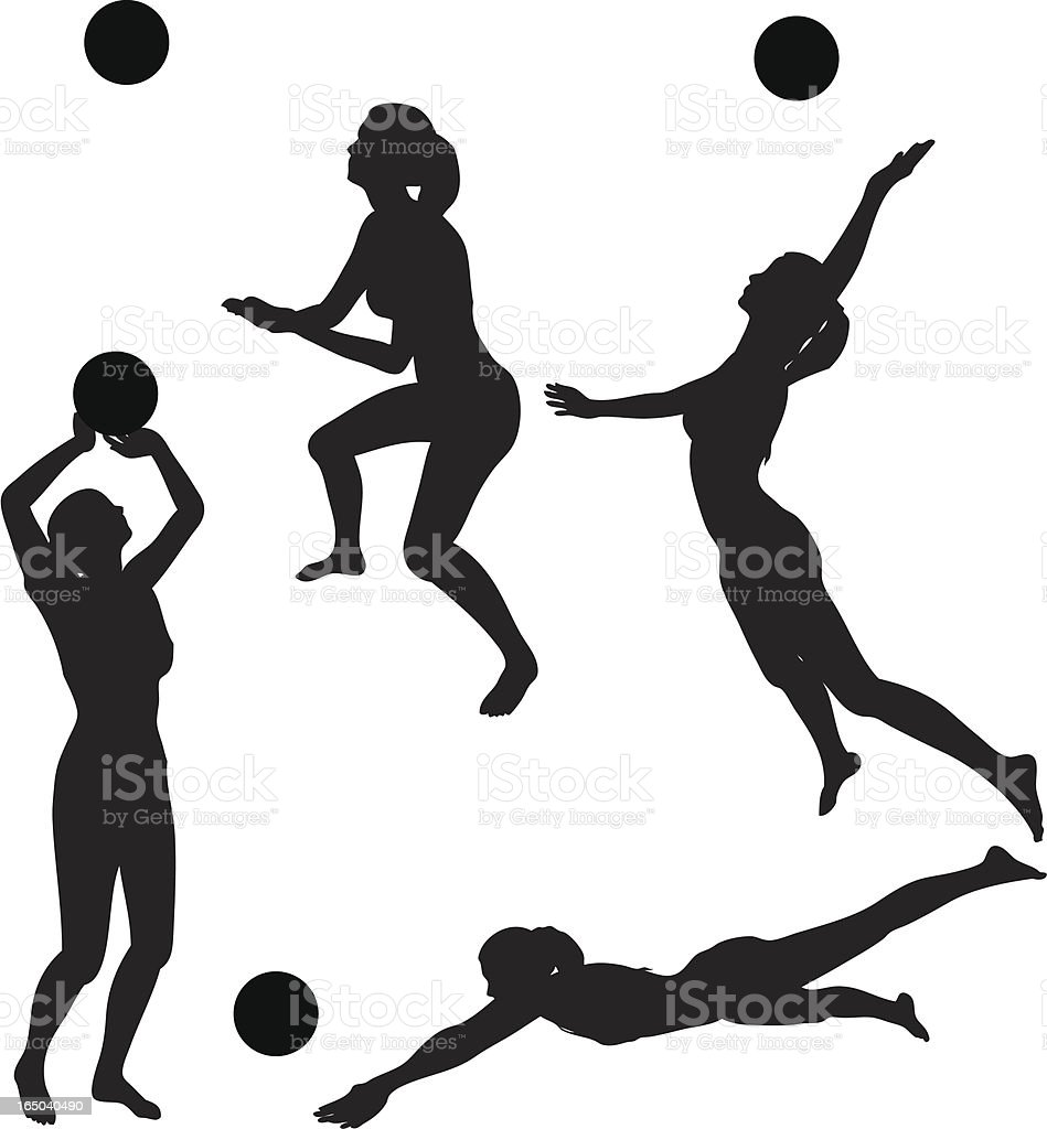 Volleyball silhouette collection (vector+jpg) vector art illustration
