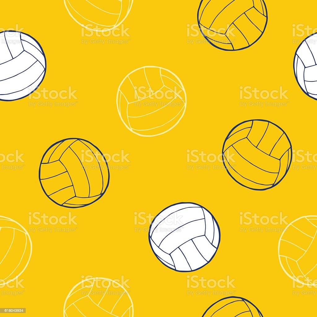 Volleyball sport ball graphic background seamless pattern...