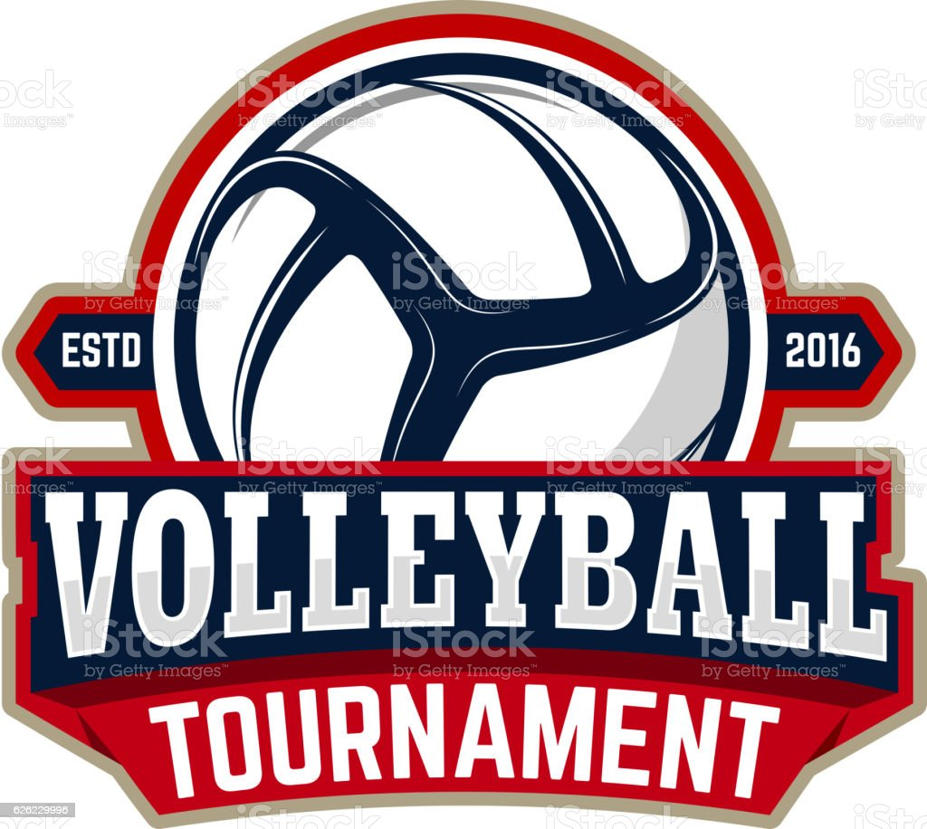 volleyball tournament. Emblem template with volleyball ball vector art illustration
