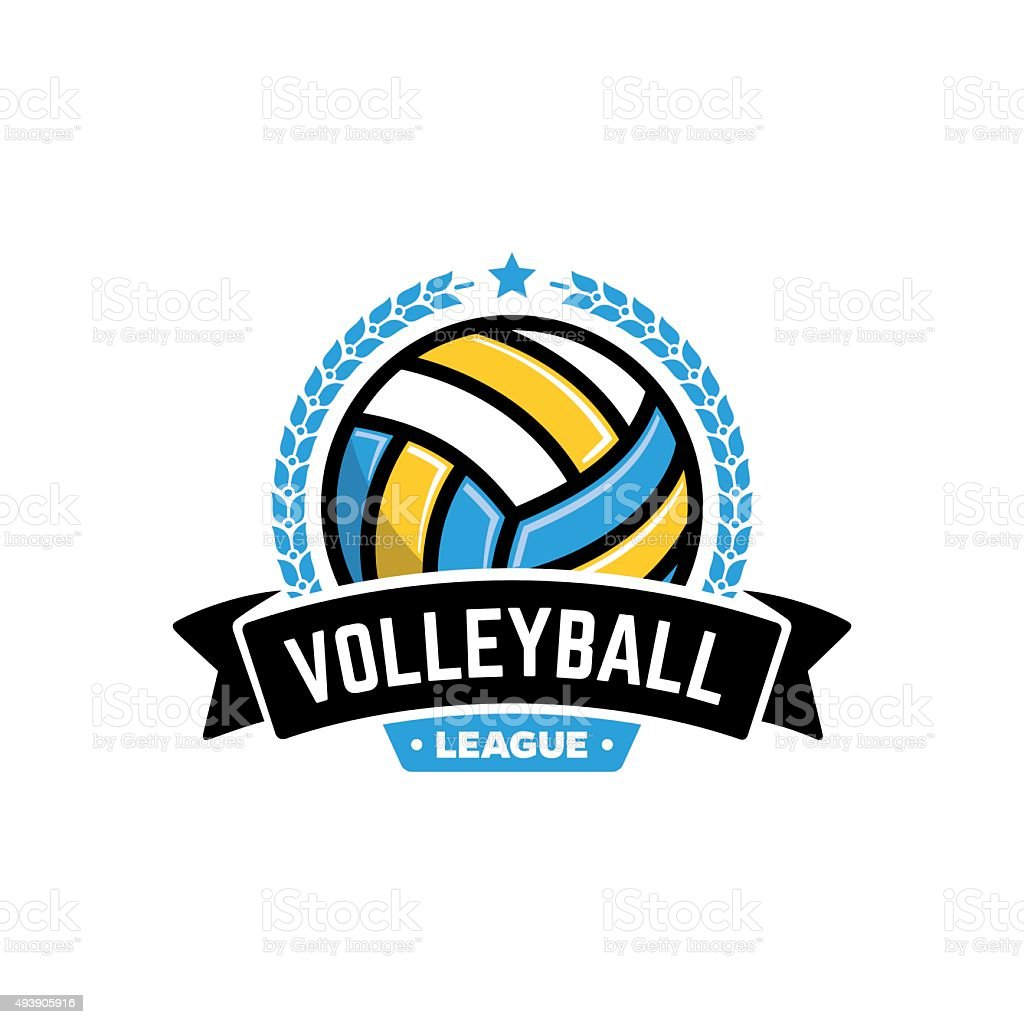 Vector volleyball league badge with ball. Sport badge for tournament...