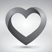 Volume heart, valentines day card, love image, design icon