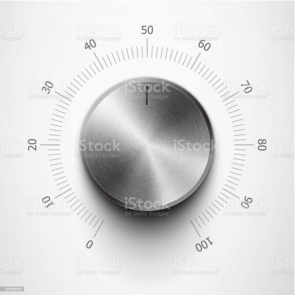 volume knob with metal texture vector art illustration