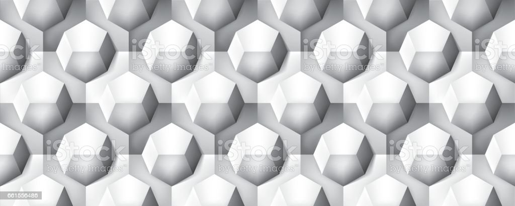 Volume realistic seamless texture, octahedron, gray 3d geometric pattern, design vector background vector art illustration