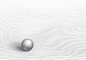 Volumetric gray ball on striped and wrinkled surface, wave lines