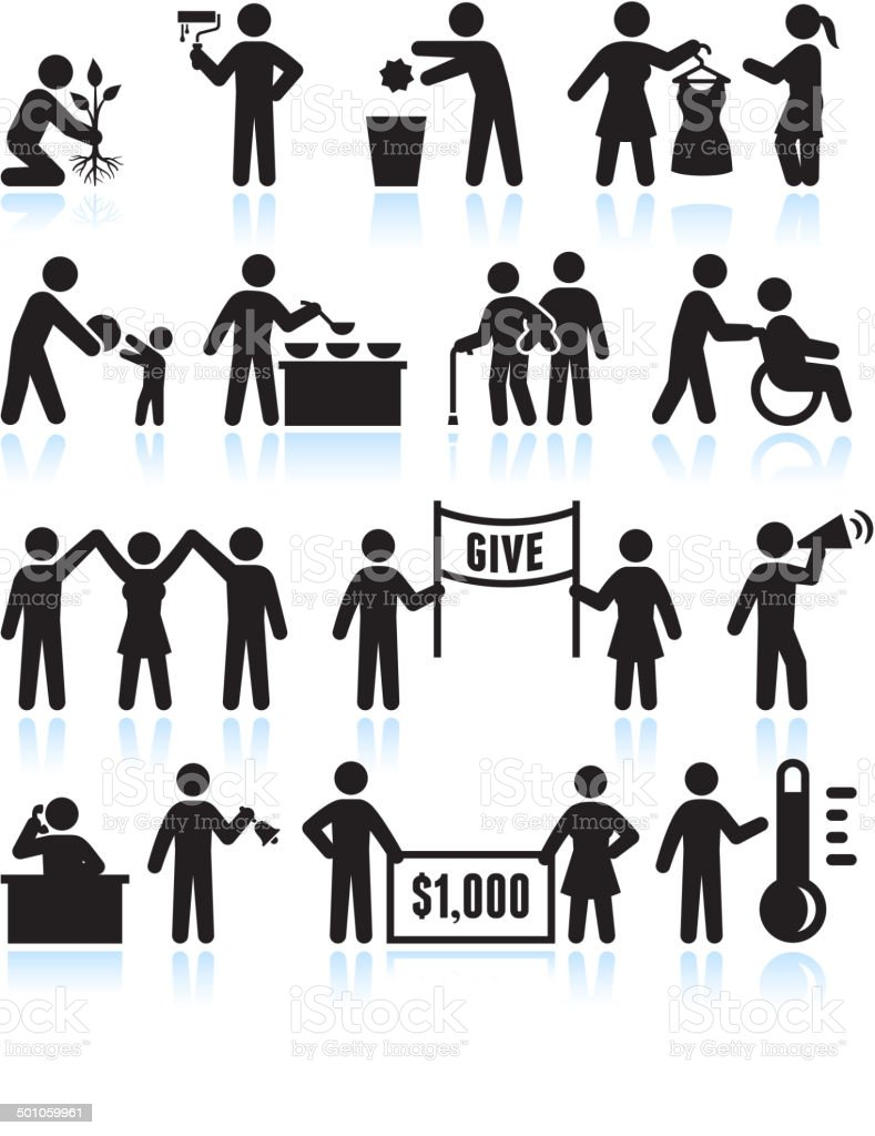 Volunteer and Donate Stick Figure Collection Set vector art illustration