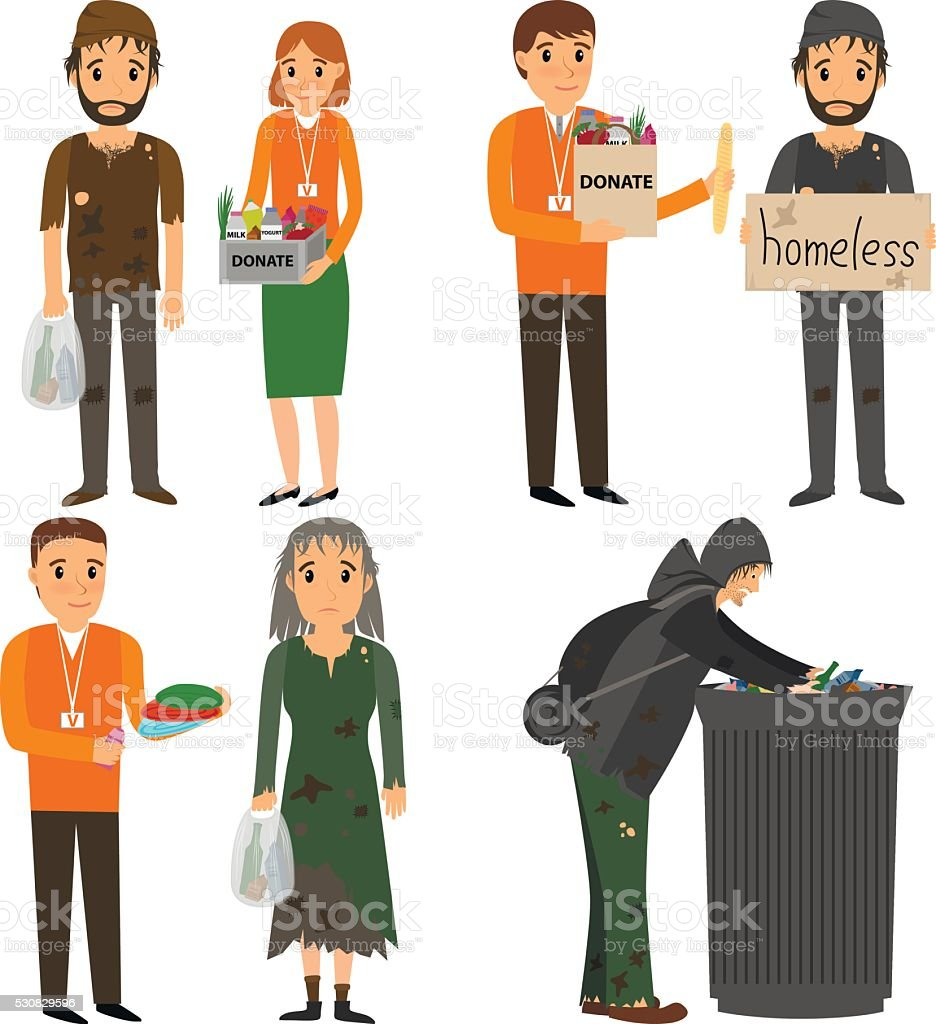 Volunteer and homeless vector art illustration