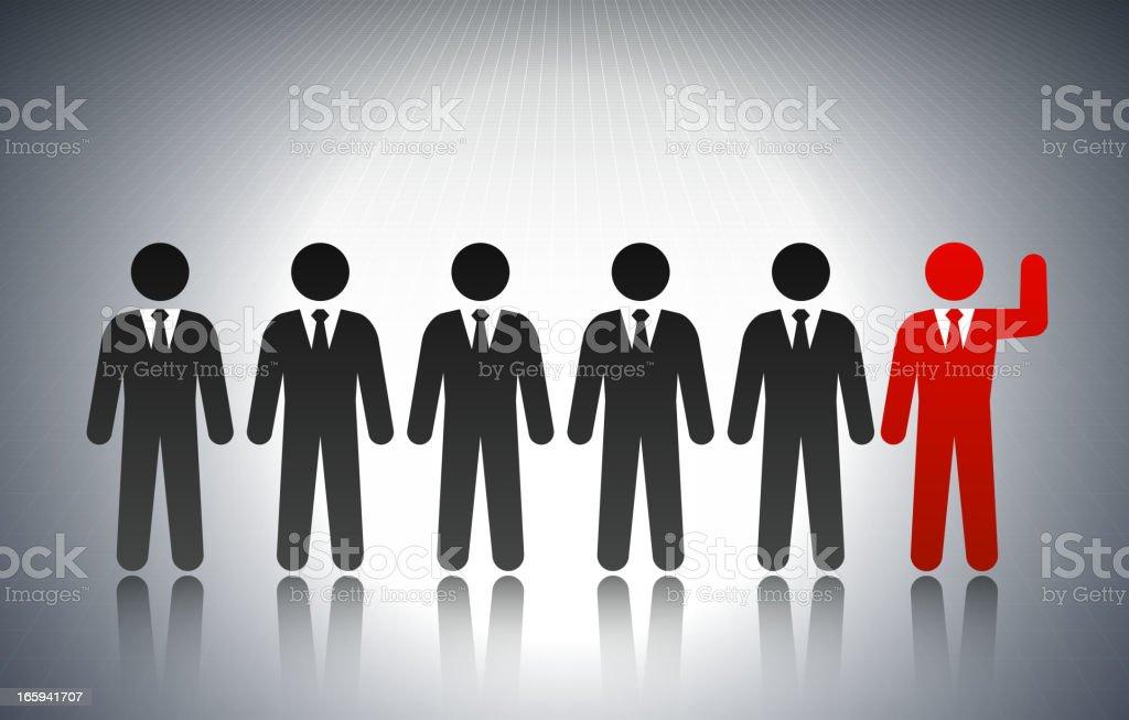 Volunteer Businessman Concept Stick Figures vector art illustration
