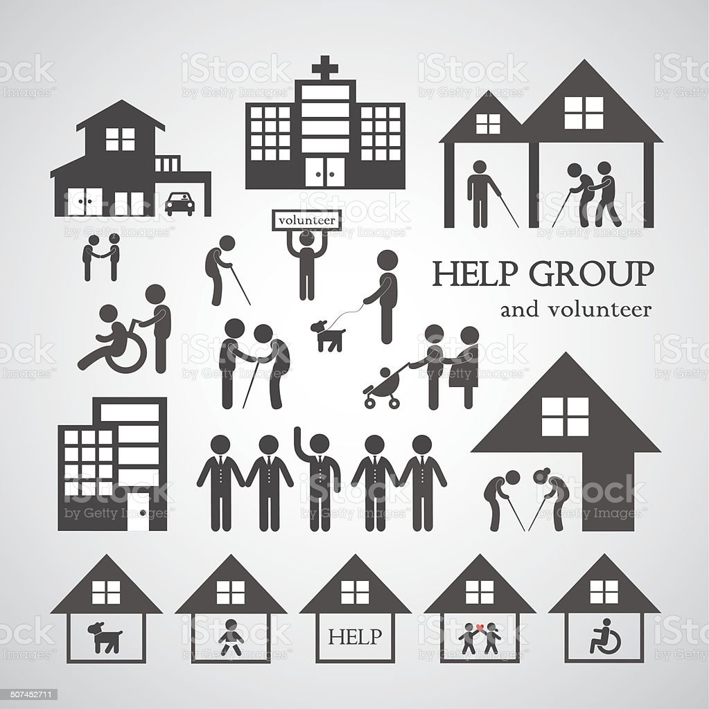volunteer for non profit social service symbol vector art illustration