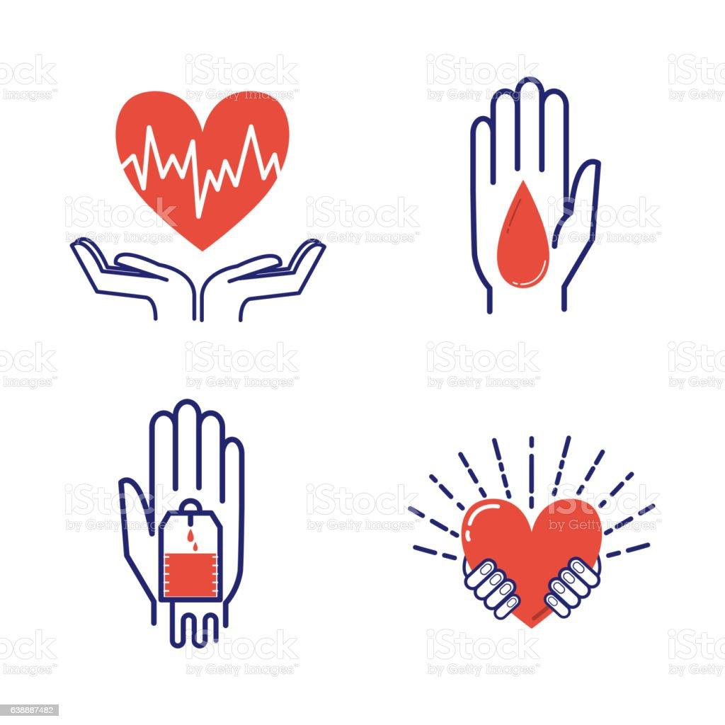 Volunteer icons vector set. vector art illustration