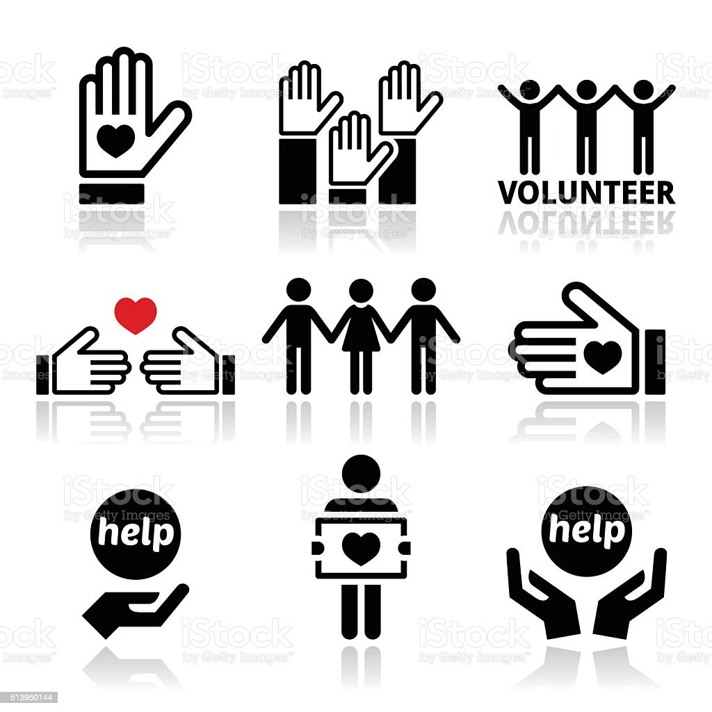 Volunteer, people helping or giving concept icons set vector art illustration