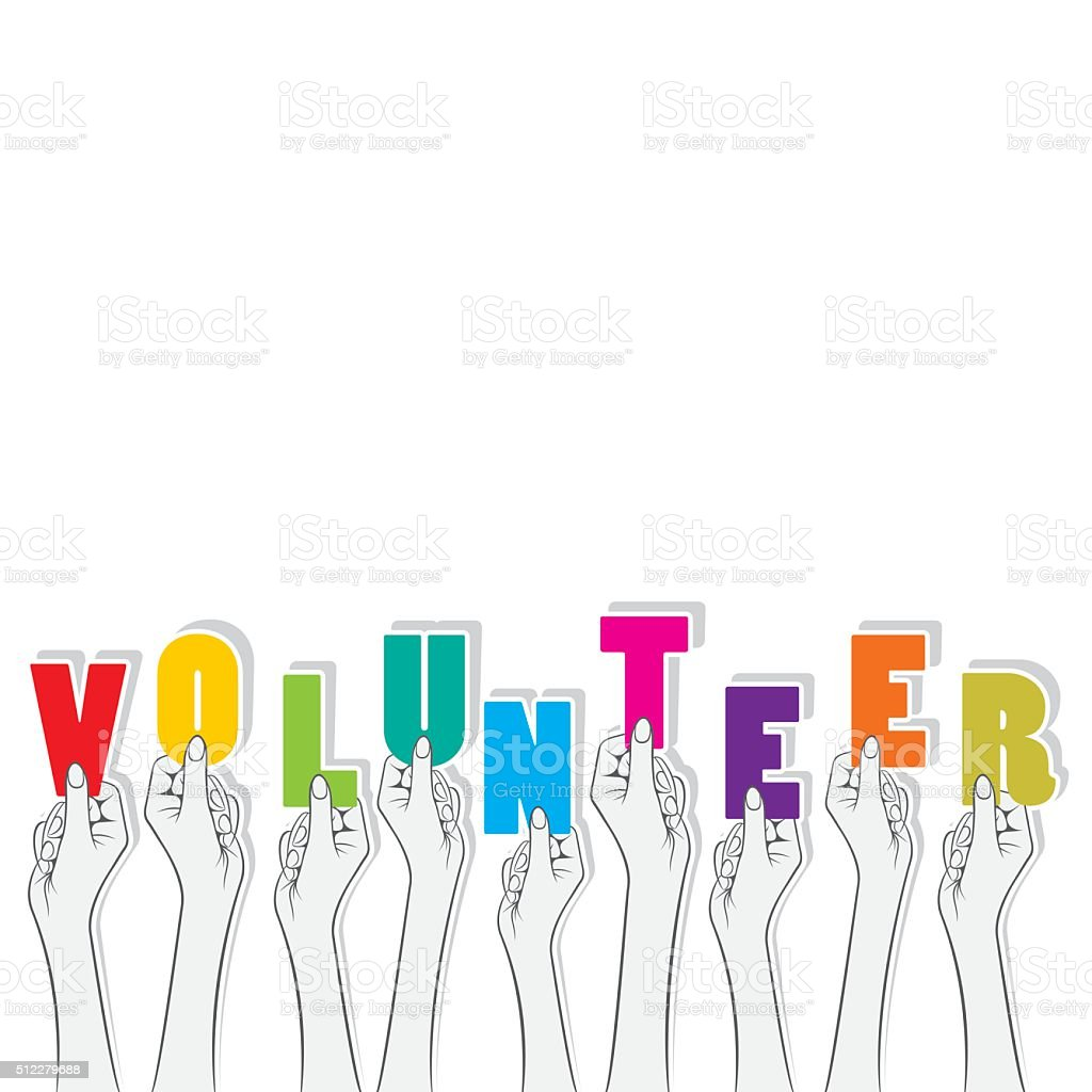 volunteer text banner design vector art illustration