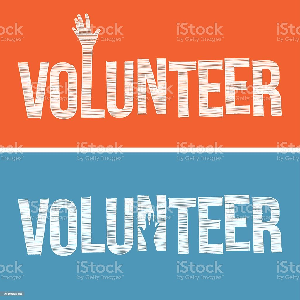 Volunteer word in hand drawn style vector art illustration