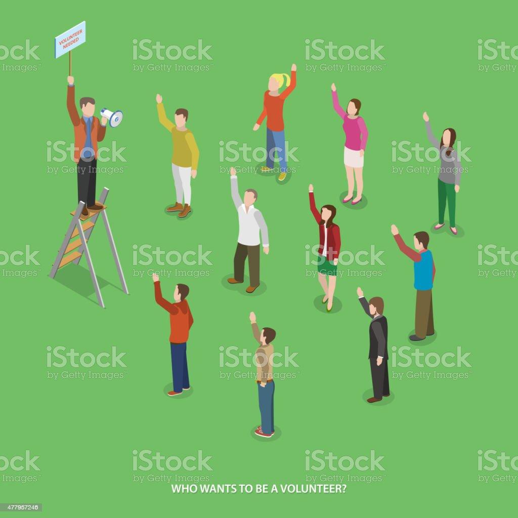 Volunteering flat isometric vector concept. vector art illustration