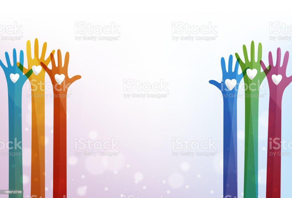 Volunteering hands royalty-free stock vector art