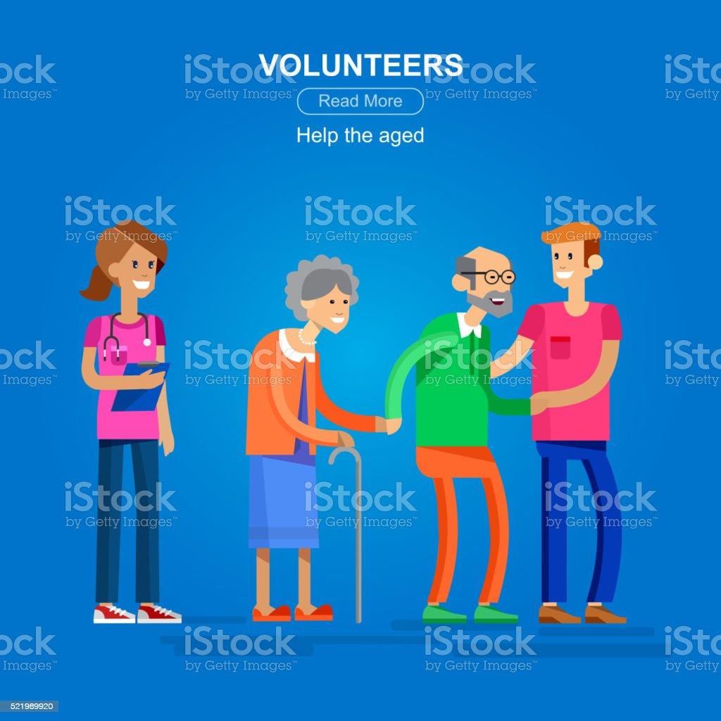 Volunteers design concept vector art illustration