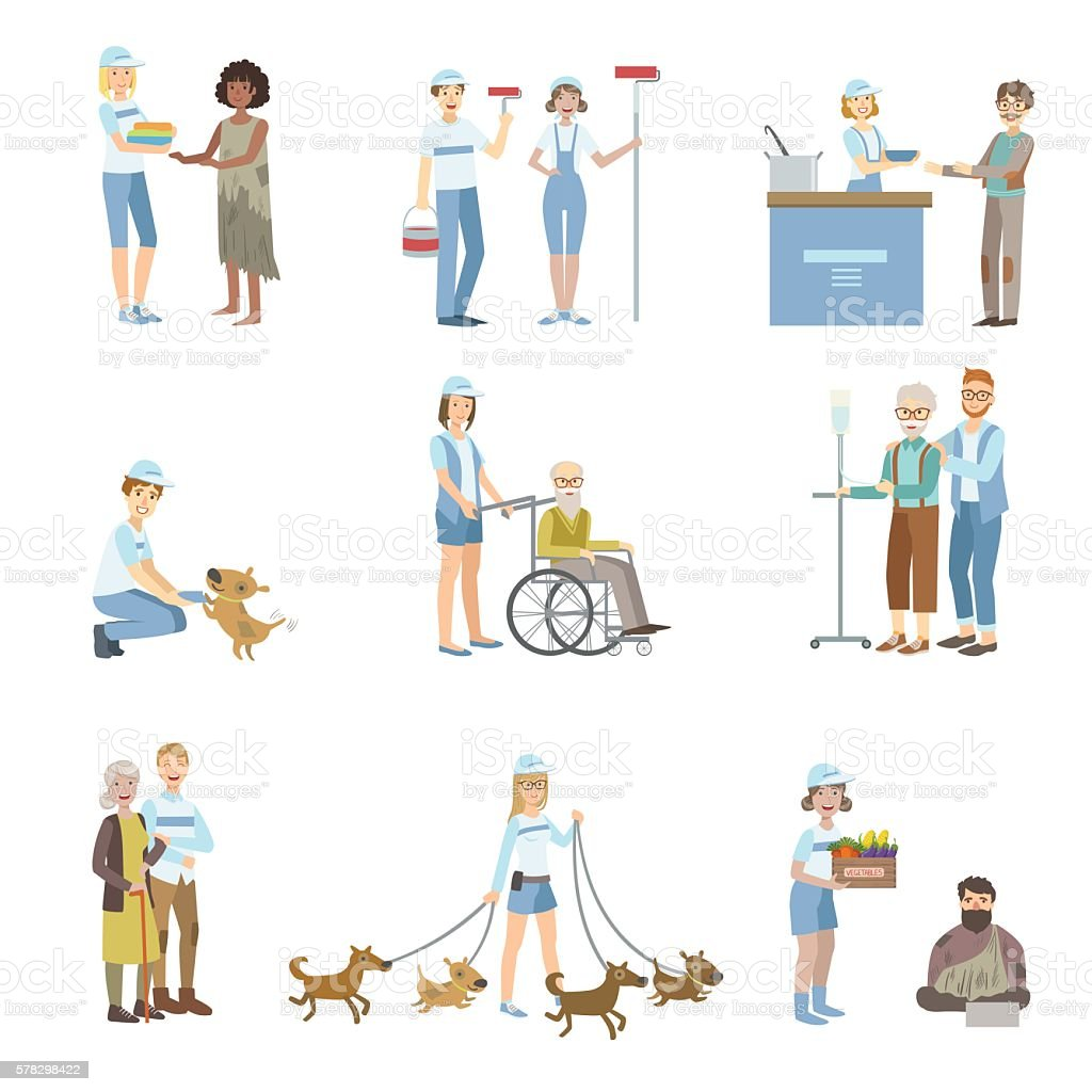 Volunteers Helping In Different Situations vector art illustration