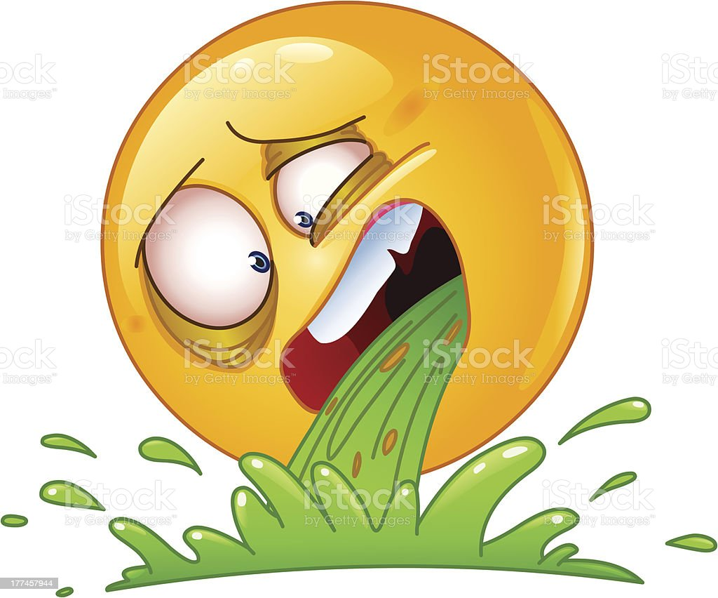 Vomiting emoticon vector art illustration
