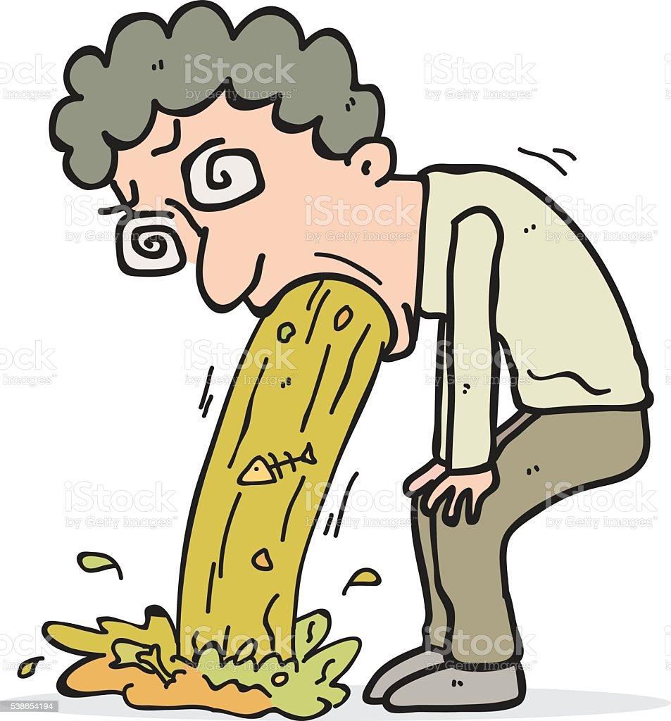 vomiting man cartoon vector art illustration