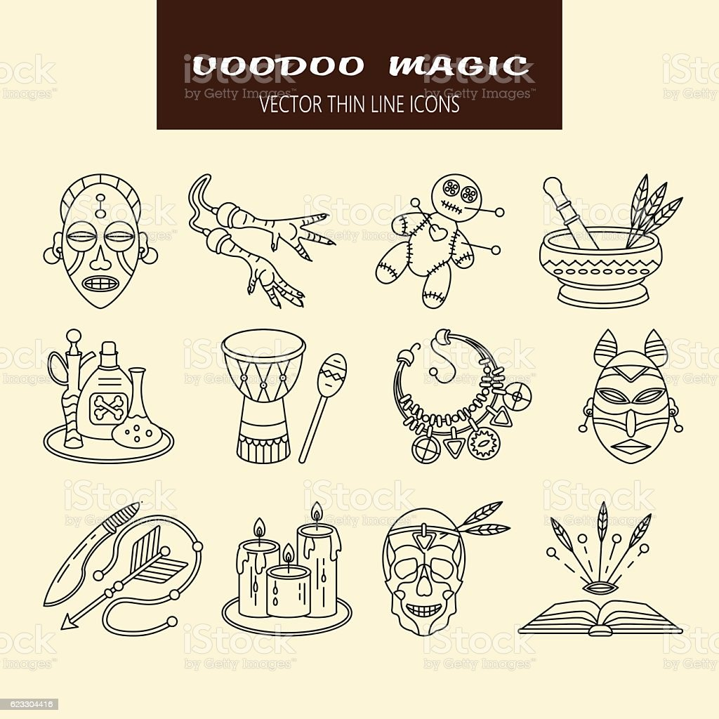 Voodoo African and American magic vector line icons. vector art illustration