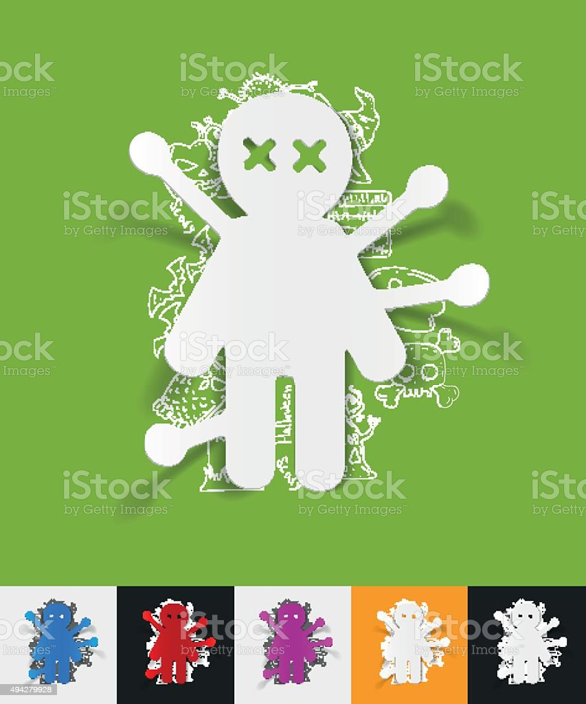 voodoo Doll paper sticker with hand drawn elements vector art illustration