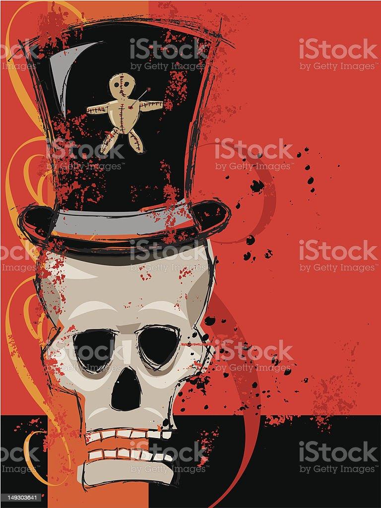 Voodoo man skull vector art illustration