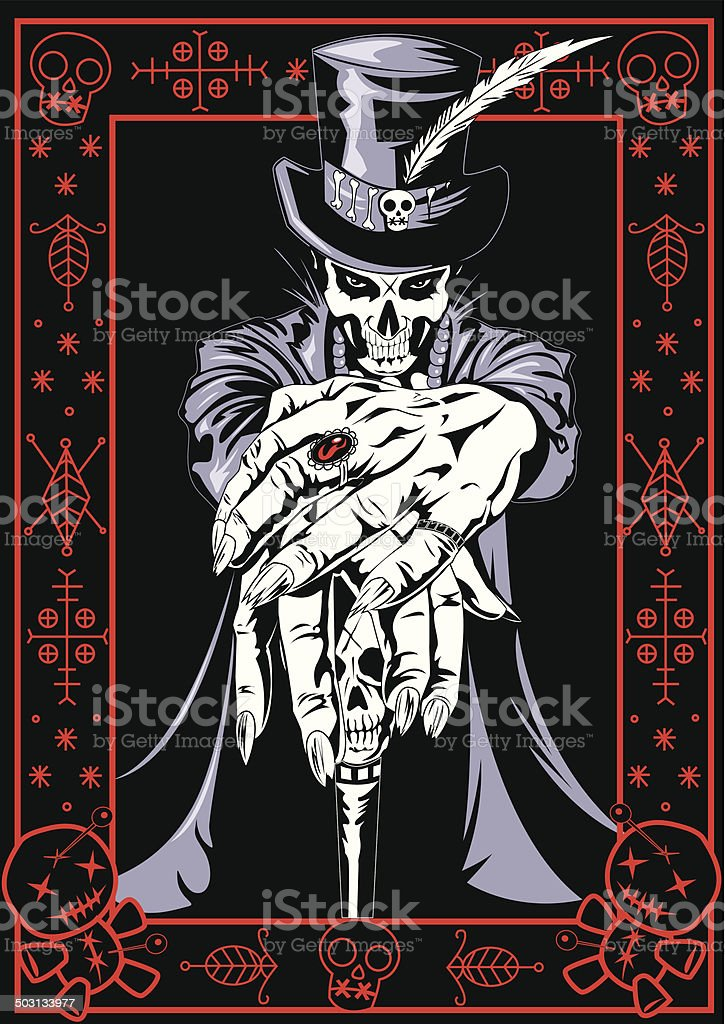 Voodoo Priest vector art illustration