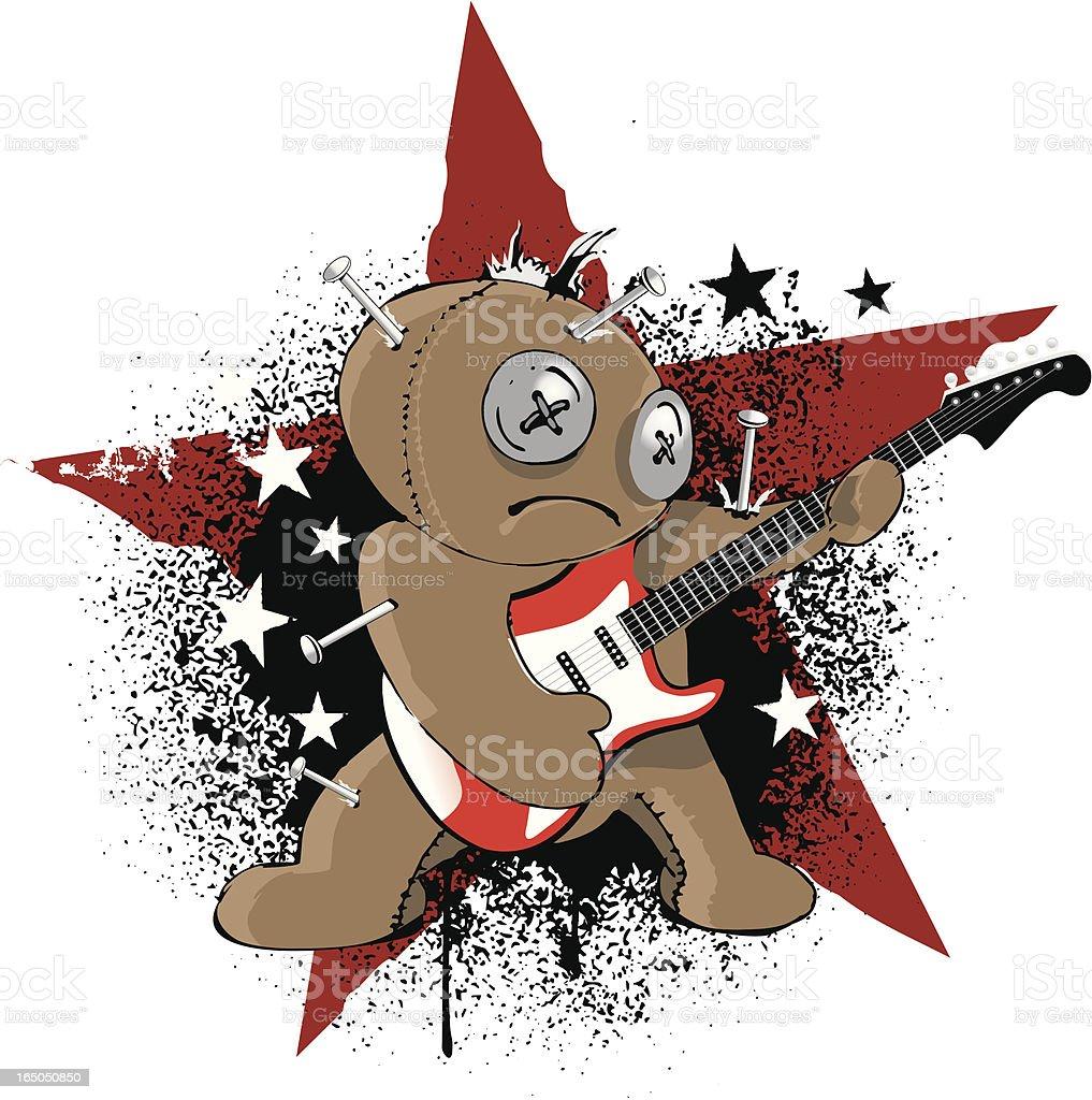 voodoo rock puppet vector art illustration