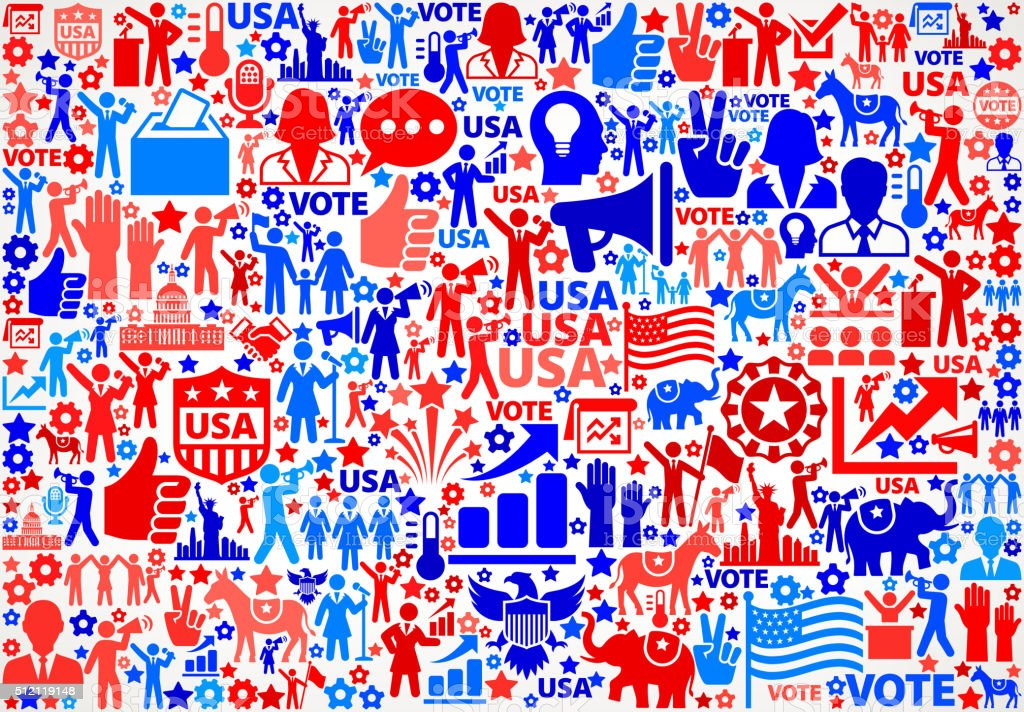 Vote and Elections USA Patriotic Icon Pattern vector art illustration