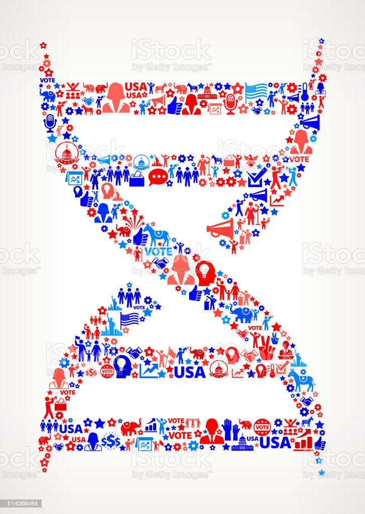 DNA Vote and Elections USA Patriotic Icon Pattern vector art illustration