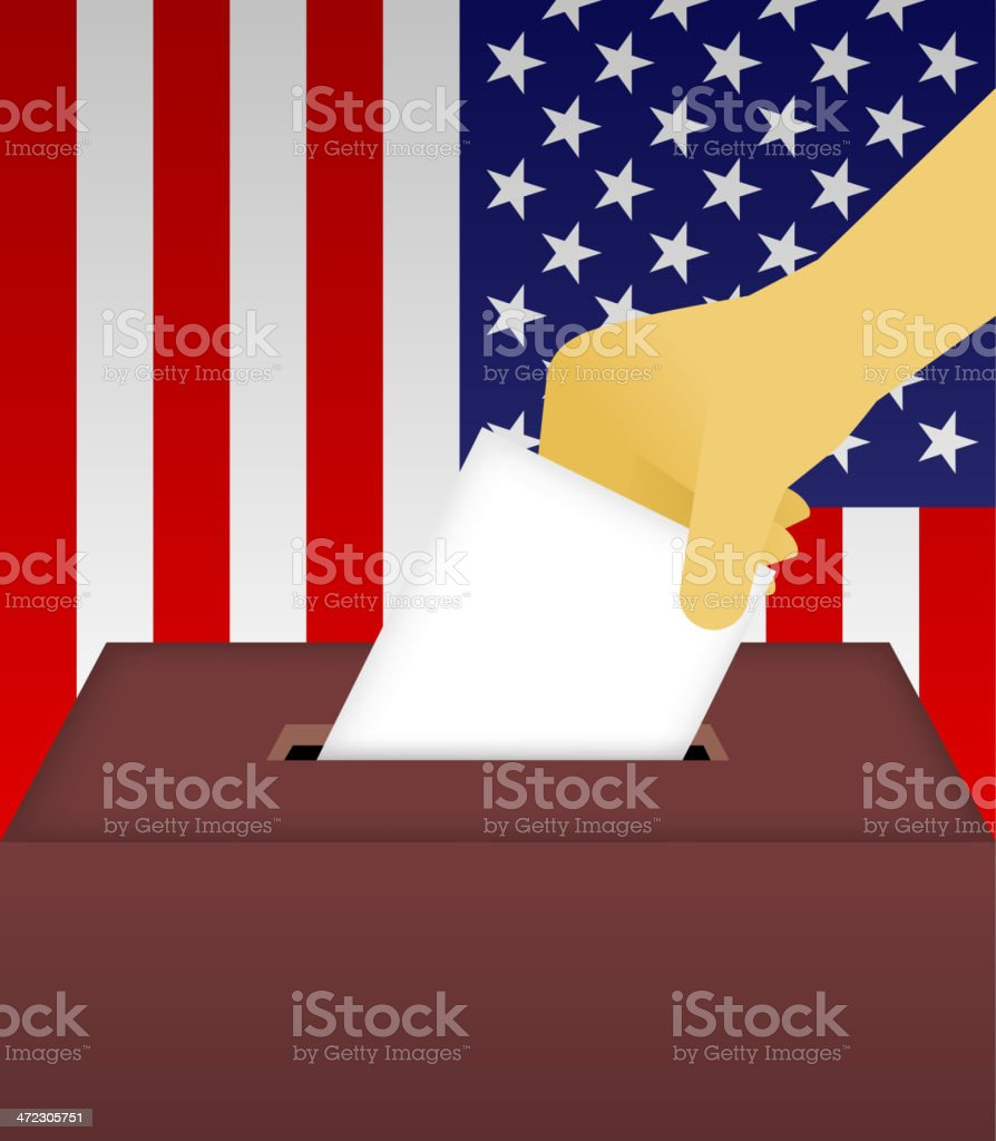 Vote Ballot Box with human hand and American Flag Background royalty-free stock vector art