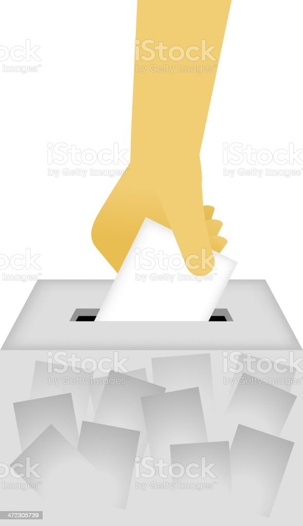 Vote Ballot Box with human hand royalty-free stock vector art