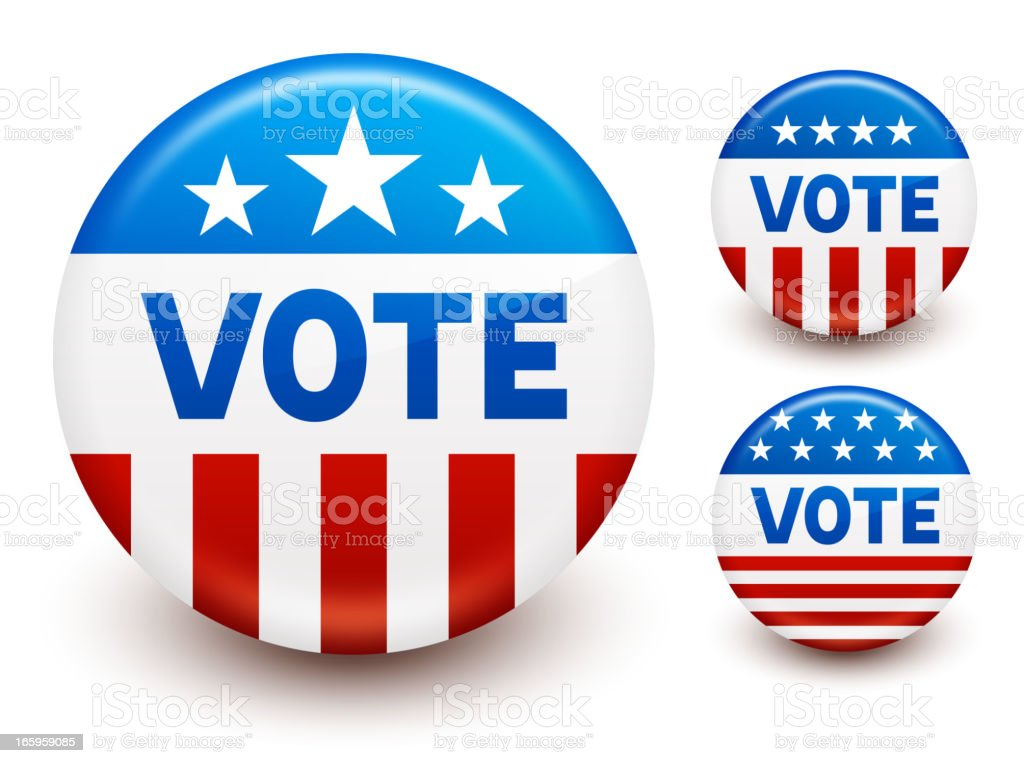 Vote buttons set vector art illustration