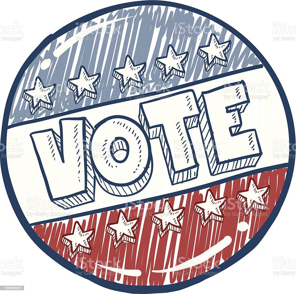 Vote campaign button sketch vector art illustration