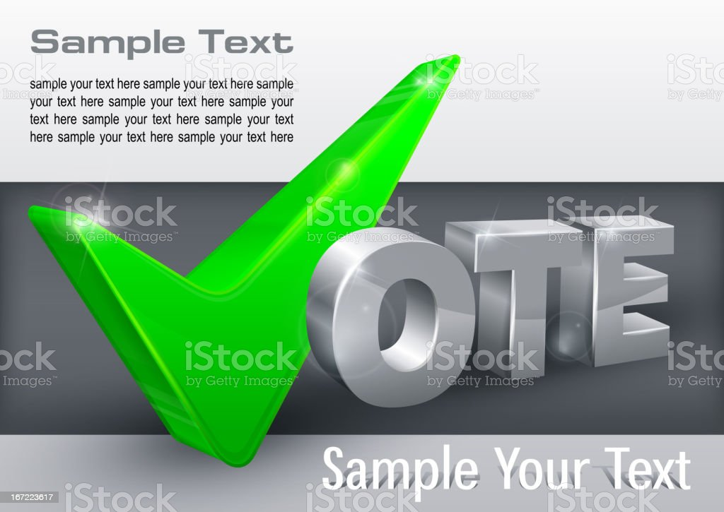 Vote check mark on grey royalty-free stock vector art